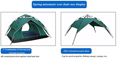 LUSHUN Tienda de Campaña 3-4 Personas, Tienda de Campaña con Dos Puertas A Prueba de UV/Viento Fuerte/Lluvia para Trekking, Campamento, Playa, Aventura, etc,Verde