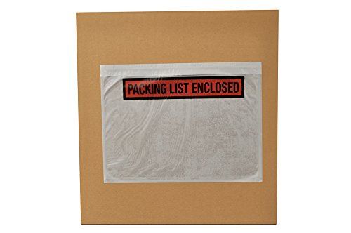 - 1000 Packing List Enclosed Adhesive Envelopes Top Loading Panel Face 7.5 x 5.5 Inch