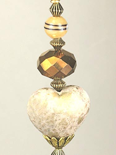 (Gold Speckled Cream Heart with Faceted Bronze-Copper and Beige Striped Glass Ceiling Fan Pull Chain)
