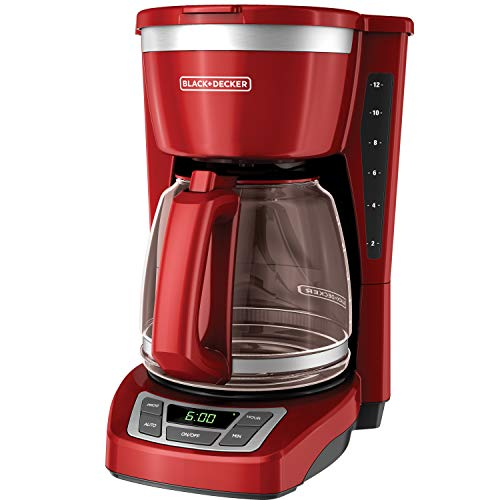 RED Black and Decker 12-Cup Programmable Coffeemaker