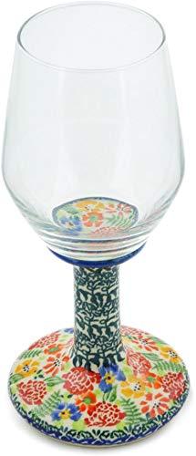 Polish Pottery 9 oz Wine Glass (Flowerbed Theme) Signature UNIKAT + Certificate of Authenticity from Polmedia Polish Pottery