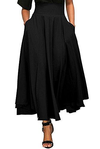 Designer Women Skirt (BeneGreat Women's Vintage High Waist Pleated Skirt Skater Long A-line Swing Skirt with Pocket Black M)