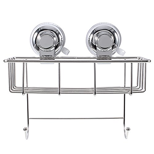 Ultra-Adhering Dual Vacuum Suction Cups Stainless Steel Basket with Double Hook for Bathroom Kitchen