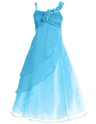FAIRY COUPLE Little Girl's A-line Straps Chiffon Flower Girl Dress for Wedding K0034 6 Light Blue