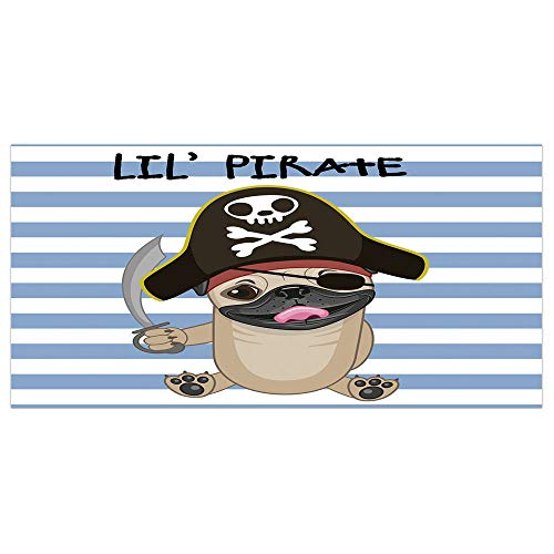 iPrint 47.2x23.6 Floor/Wall Sticker Removable,Pirate,Buccaneer Dog in Cartoon Style Costume Holding Sword Lil Pirate Striped Backdrop,Multicolor,for Living Room Bathroom Decoration -