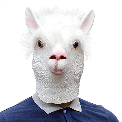 Monster Mud Halloween Props (HAOw 2019 Full Face Mask Halloween Bar Party Grass Mud Horse Alpaca Mask Used for Decoration Prom Props Funny Performance Party Spoof White)