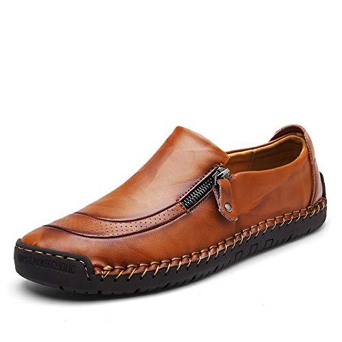 casuali pelle Nero di EU Scarpe guida comodi Chiaro Colore in Dimensione vera per fatte mano gli mocassini a 44 Marrone di ZHRUI grandi dimensioni uomini 7WzqCwHwv