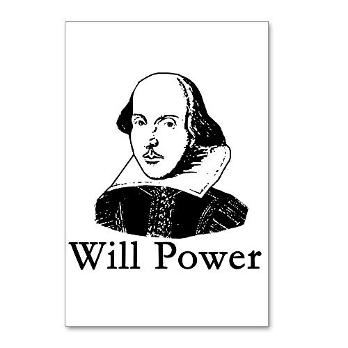 """CafePress William Shakespeare WILL POWER Postcards (Package Postcards (Package of 8), 6""""x4"""" Glossy Print Note Card"""