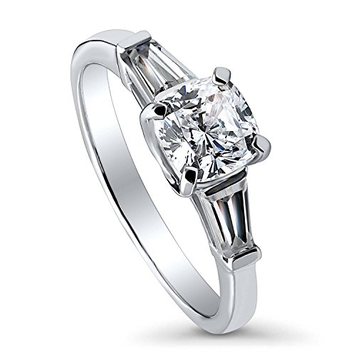 BERRICLE Rhodium Plated Sterling Silver Cushion Cut Cubic Zirconia CZ 3-Stone Anniversary Promise Engagement Ring 1.75 CTW Size -