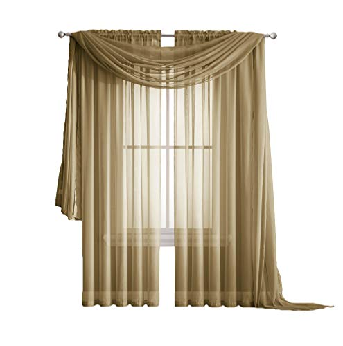 "Amazing Sheer - 2-Piece Rod Pocket Sheer Panel Curtains Fabric Sheer - Voile Curtains for Window Treatment - Natural Light Flow (56"" W x 84"" L - Each Panel, Gold)"