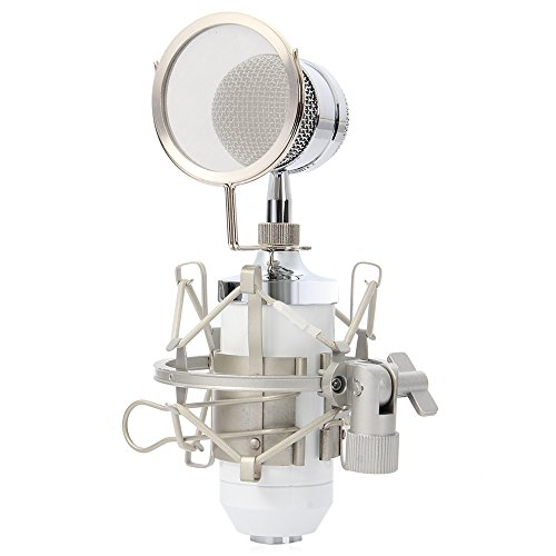 YOOYOO BM - 8000 Professional Sound Studio Recording Condenser Microphone with 3.5mm Plug Stand Holder (WHITE) (Sparkly Microphone)
