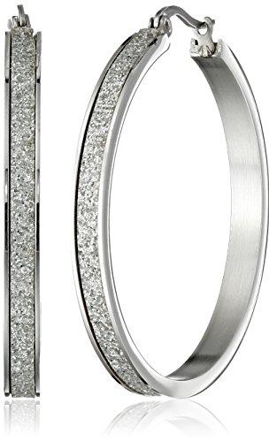 Stainless Steel with Glitter Hoop Earrings