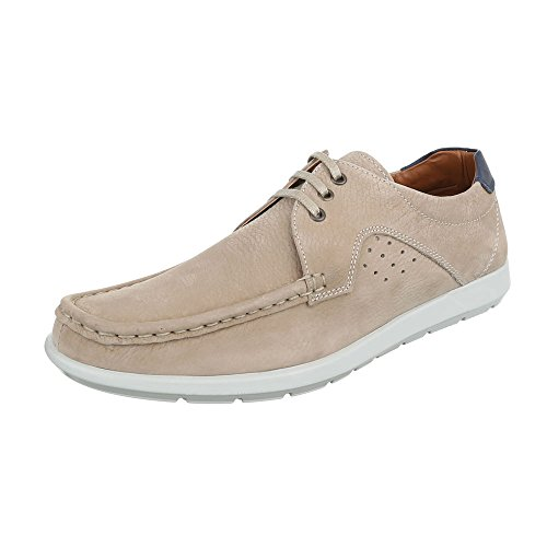 Ital-Design Men Lace-Up Flats Beige
