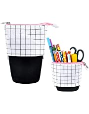 iSuperb Transformer Stand Store Pencil Holder Canvas+PU Cartoon Cute Cat Telescopic Pencil Pouch Bag Stationery Pen Case Box with Zipper Closure 7.5 x 4.9 x 3.0inch/4.1x 3.0inch