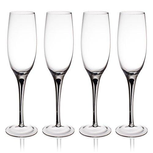 Black Flutes Stem (Trinkware Set of 4 Champagne Flutes With Black Raindrop In Stem - Long Stem Glasses, 10oz, 10-inches Tall – Elegant Glassware And Stemware)