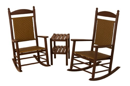 (POLYWOOD PWS141-1-FMATW Jefferson 3-Piece Woven Rocker Chair Set, Mahogany Frame/Tigerwood)