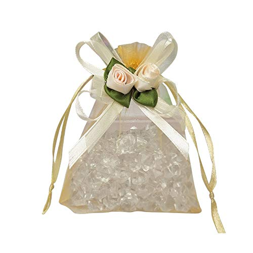 AdasBridal 50Pcs 3.94 X 4.72 Inch Gold Rose Flower-Ribbon Design Pouches Sheer Organza Drawstring Favor Candy Bags Gift Bags for Wedding Birthday Engagements Anniversary