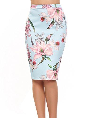 ACEVOG Women's High Waist Floral Print Vintage Midi Pencil Skirt (Medium, Light (Blue Floral Skirt)