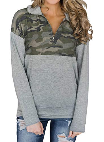 AlvaQ Womens Winter Lapel Loose Long Sleeve Casual Floral Print Plus Size Juniors Fashion 2018 Pullover Sweatshirt Tops and Blouses with Pockets Army