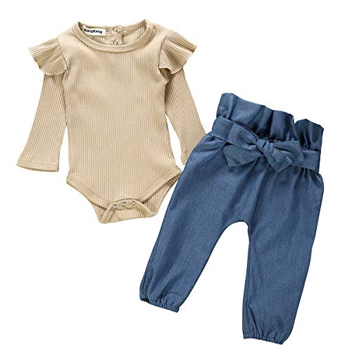 Newborn Baby Girls Clothes Floral Romper+ Floral Long Pant 2pcs Outfit 3-6 Months (Best Brand For Newborn Baby Clothes)
