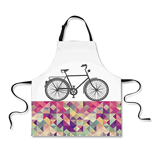 iPrint Cooking Apron,Geometric,Vintage Style Bike Over Multi