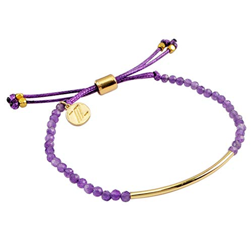 (ZENGORI 1 Pcs 3mm Faceted Natural Amethyst Bead Bracelet Adjustable Handmade Jewelry ZBG0069)