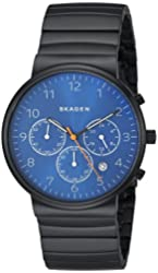 Skagen Men's SKW6166 Ancher Black Stainless Steel Watch with Link Bracelet