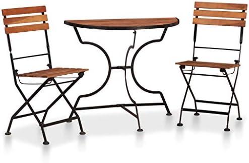 UnfadeMemory Muebles de Bistró de Jardín Terraza Balcón o Patio,Mesa de Pared y 2 Sillas Plegables,Muebles de Jardín,Madera Maciza Acacia: Amazon.es: Hogar