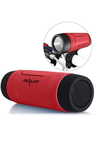 Bluetooth Bicycle Speaker Zealot S1 4000mAh Power Bank Waterproof Speakers with Full Outdoor Accessories(Bike Mount, Carabiner...)(Red)
