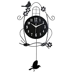 HSRG Bird Wall Clocks Metal Silent With Removable Pendulum Birdhouse Easy To Read Home/Office/School Clock(Size:57Cm60Cm)