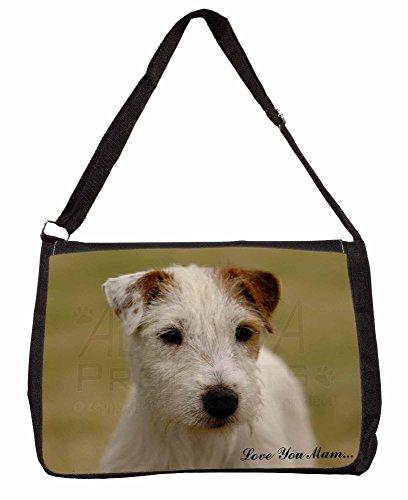 Parson Russell Terrier Love You Mum Large 16 Black School Laptop Shoulder Bag
