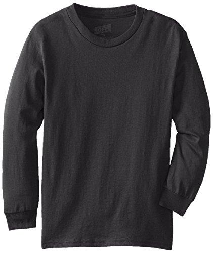 MJ Soffe Big Boys' Youth Pro Weight Long-Sleeve T-Shirt, Black, Medium
