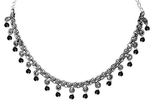 d Silver Plated Beads Choker Indian Necklace Jewelry for Girls and Women ()