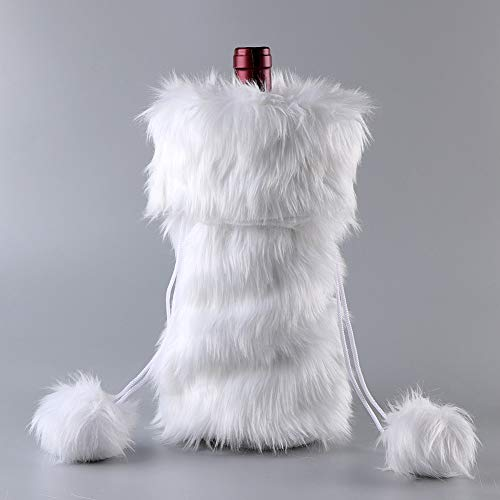 Handmade Cozy White Faux Fur Wine Bag for Holidays