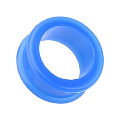 Freedom Fashion Flexible Silicone Double Flared Ear Gauge Tunnel Plug (Sold by Pair) (4 GA, -