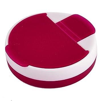 DealMux Plastic forma redonda pílula Tablet Medicina cápsulas de vitamina Caso Box Limpar Red