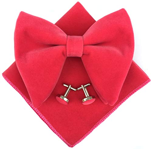 - Mens Pre-Tied Oversized Bow Tie Tuxedo Velvet Bowtie Cufflinks Hankie Combo Sets (Rose Red)