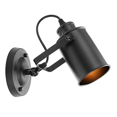 INHDBOX Retro Loft Wall Spot Light,Modern Adjustable Wall Mounted Lighting Sconces,Ceiling Spotlight Black E27(No Bulb) ()