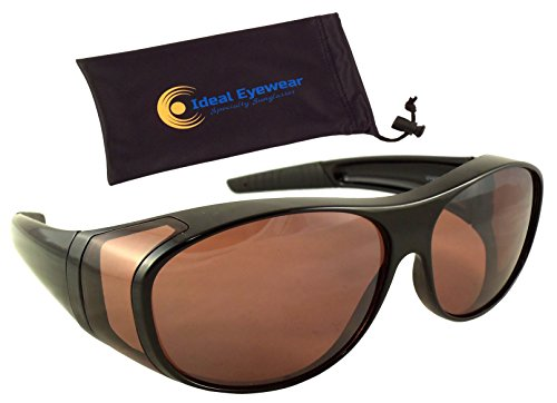 Ideal Eyewear Sun Shield Blue Blocking Fit Over Sunglasses HD Copper Lenses - Wear Over Glasses - Wrap Around - Great for Fishing, Boating, Golf, Driving (Black Frame with case, Large)