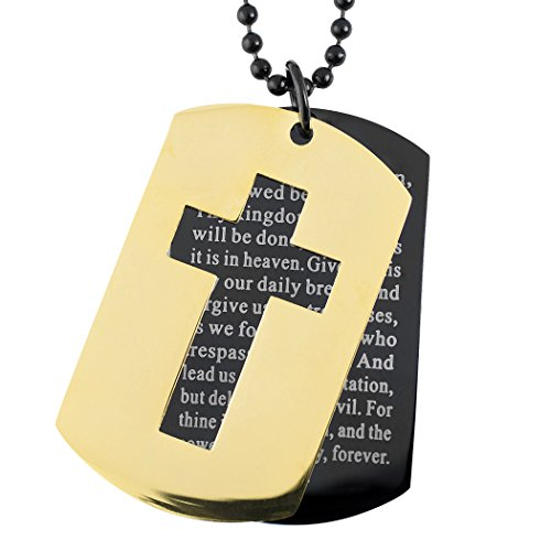 West Coast Jewelry | Crucible Two-Tone Stainless Steel Cross and 'Lord's Prayer' Double Dog Tag Pendant