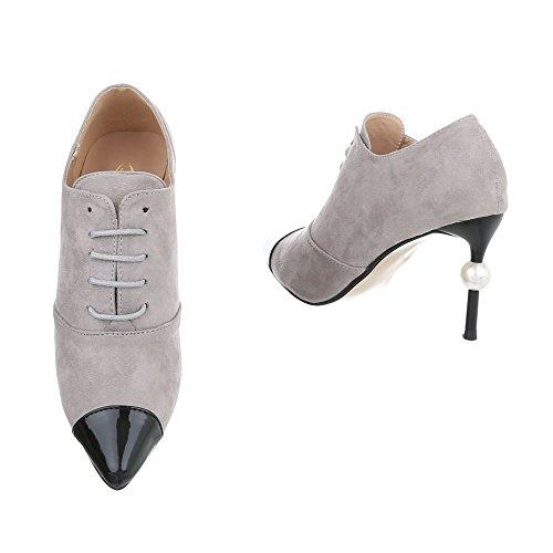 Ital-Design Ankle Boots Damenschuhe Ankle Boots Pfennig-/Stilettoabsatz High Heels Schnürsenkel Stiefeletten Grau G-19