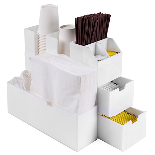 White Sugar Packet Holder (Deluxe Coffee Cups and Condiments Acrylic Organizer Caddy with 2 Drawers and Napkin Holder, White)