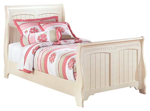 Ashley Furniture Signature Design - Cottage Retreat Casual Sleigh Bedset - Twin Size Bed - Cream White by Ashley Furniture