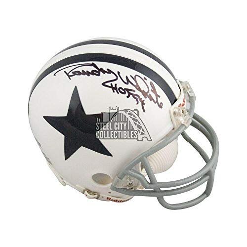Randy White Autographed Helmet - HOF 94 Throwback Mini BAS - Beckett Authentication - Autographed NFL Helmets