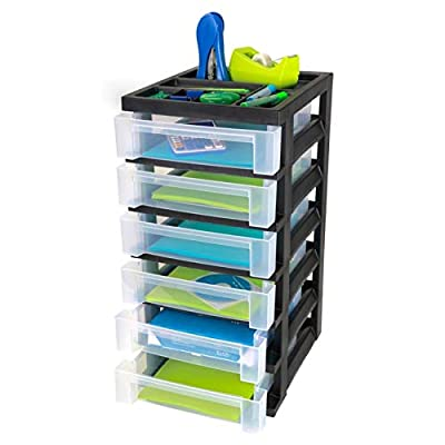 Office Depot Medium Plastic Storage Cart, 6 Drawers, 26 7/16in.H x 12 1/16in.W x 14 1/4in.D, Black, 116815