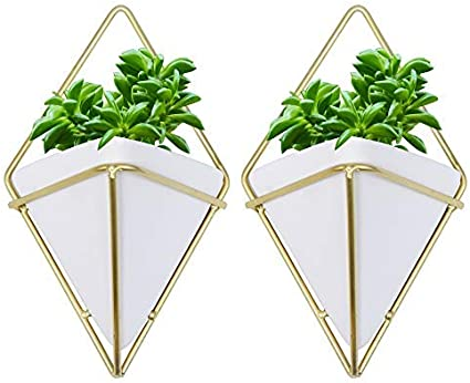 Kurtzy Macetas colgantes para plantas - 2 Macetas Geométricas Decorativas para plantas suculentas, tillandsias, cactus pequeños o plantas artificiales - Jardinera Cerámica Blanca Uso Interiores y Exteriores