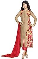 MRS WOMEN Pure Cotton Embroidery Anarkali Dress With Botton And Dupatta