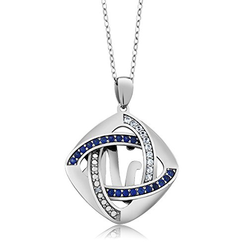 925 Sterling Silver Inter-loop Created Sapphire and Natural Accent Diamond Pendant Necklace With 18 Inch Silver (Boucheron Costume Jewellery)