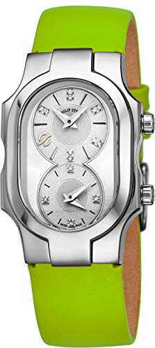 (Philip Stein Signature Swiss Made Womens Dual Time Zone Watch - Natural Frequency Technology Analog Mother of Pearl Face Ladies Watch with Diamonds - Green Leather Band Quartz Watch for Women)