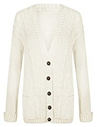 Ladies Long Sleeve Button Up Chunky Cabel Knitted Grandad Cardigan